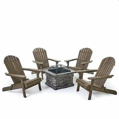 Marrion Outdoor Adirondack Set Fire Pit