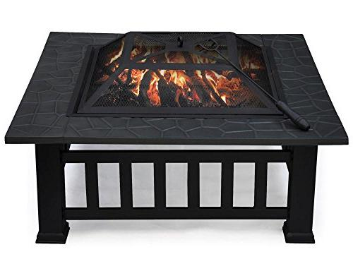 Yaheetech Outdoor Firepit Patio Square W/cover