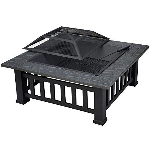 """Yaheetech Outdoor 32"""" Firepit Patio Square Stove Fire Pit W/cover"""