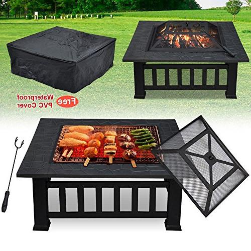 Yaheetech Metal Firepit Square Stove Pit W/cover