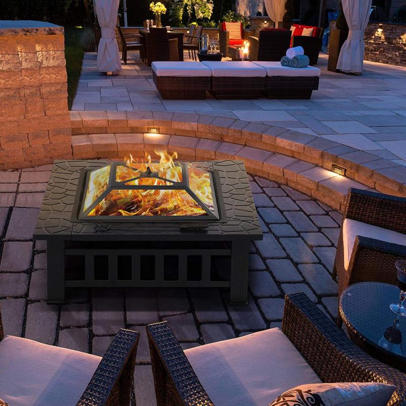 Outdoor Fire Wood Fireplace 32 in Square Black