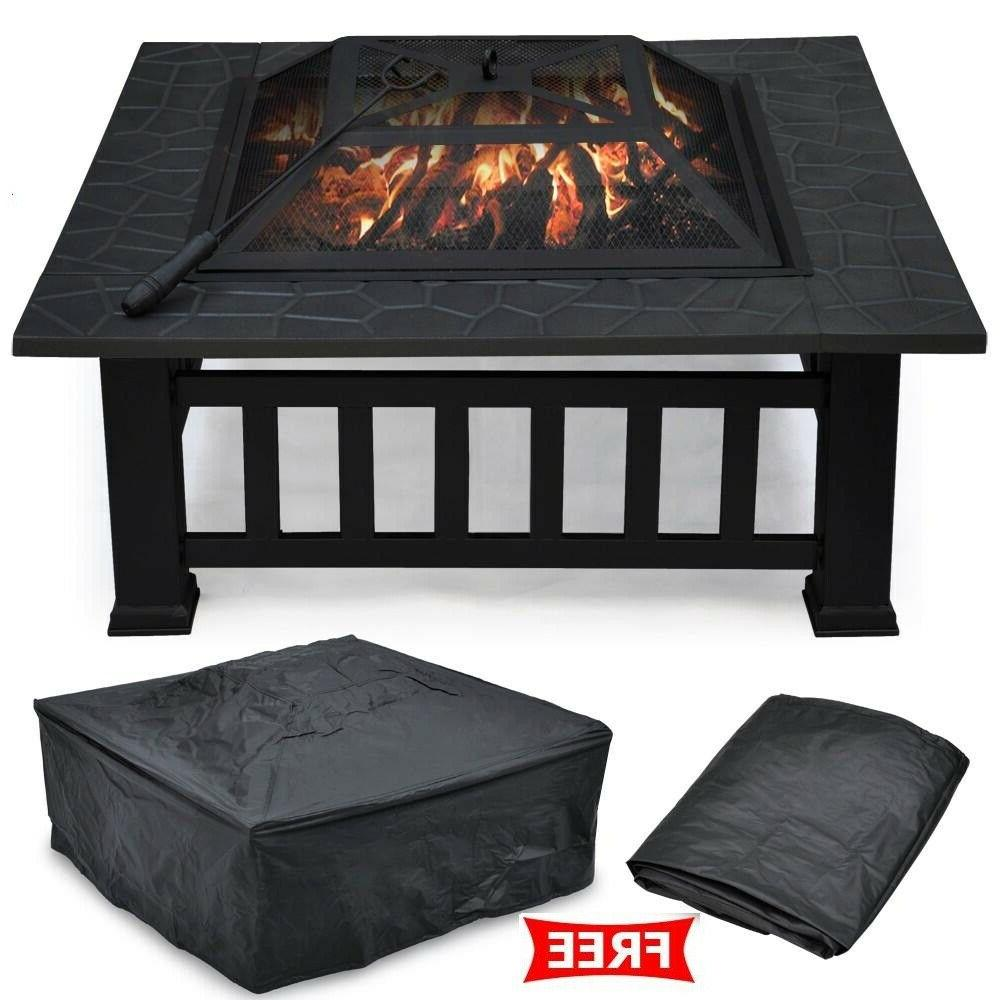 Outdoor Table Wood Burning Fireplace 32 in Square Portable