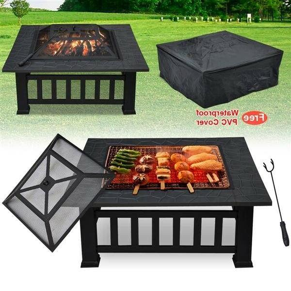 Outdoor Fire Wood in Black Metal Portable