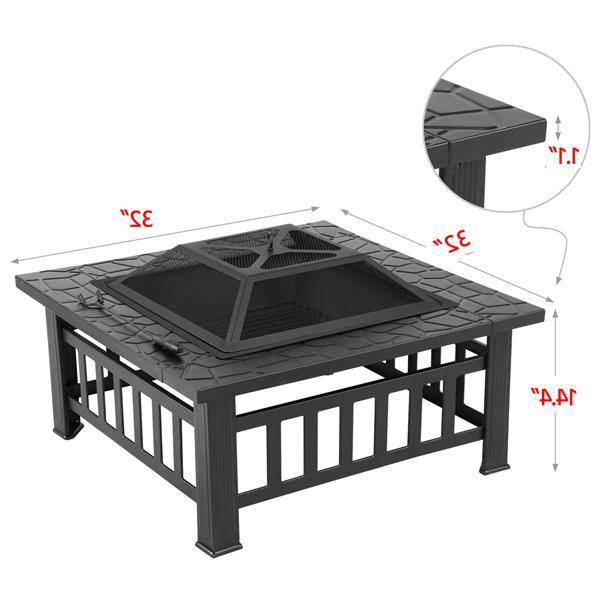 Outdoor Wood Fireplace in Square Black Metal Portable