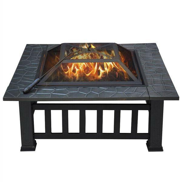 Outdoor Wood Fireplace in Square Black Portable