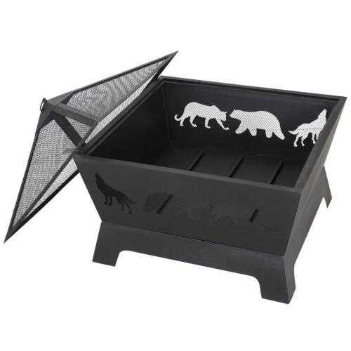 "26"" Outdoor Fire Pit Steel Wood Burning BBQ Patio W/Rain Cover&Poker"