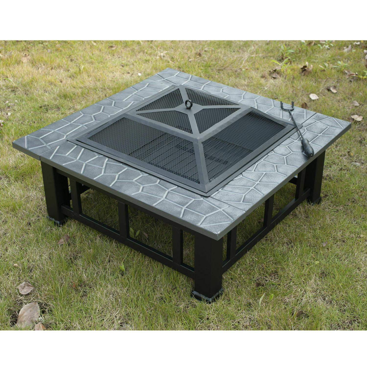 Outdoor Fire Pit Backyard Heater Fireplace Cover Square