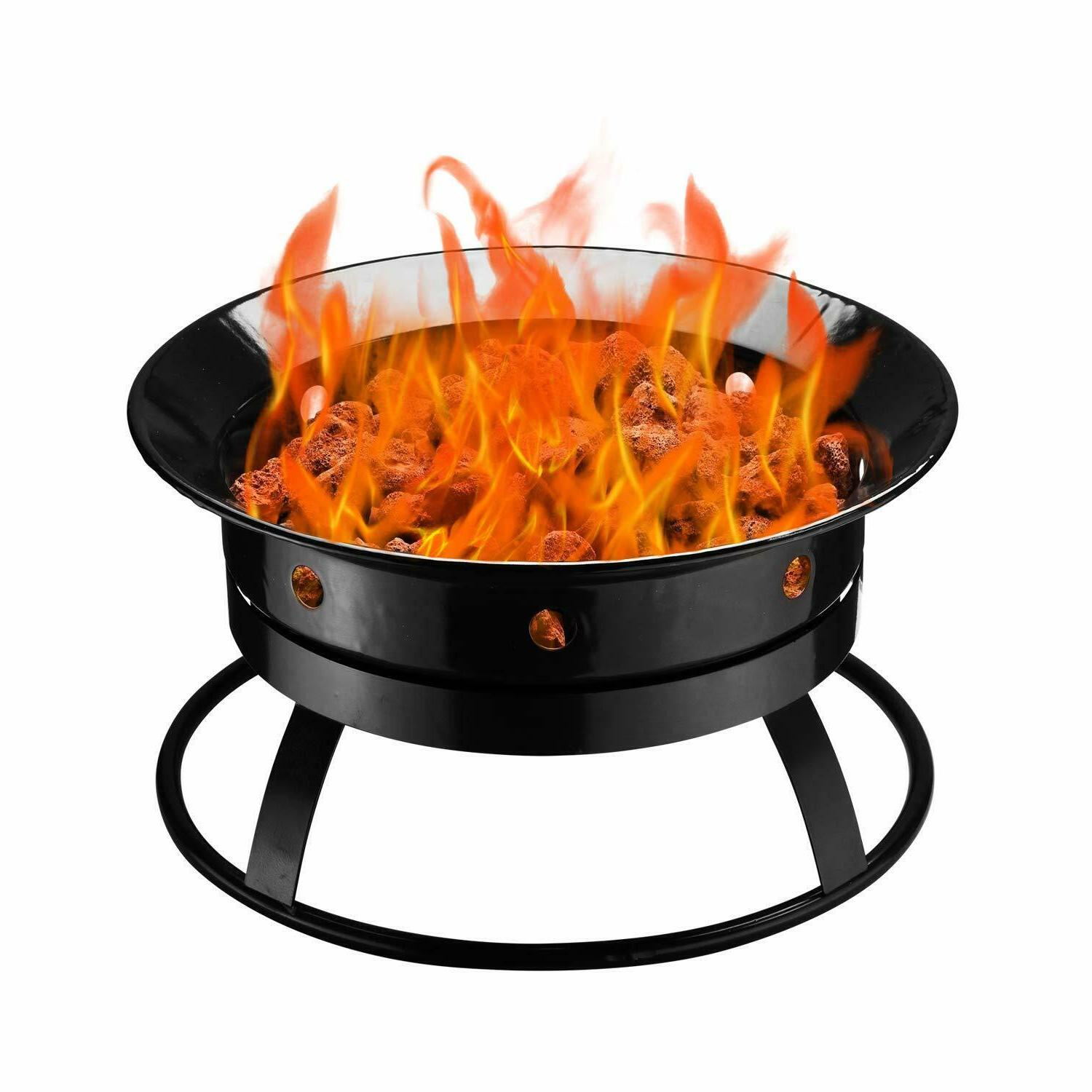outdoor round black propane gas fire pit