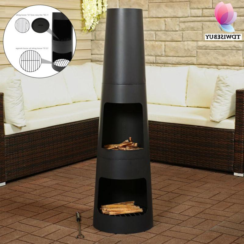 outdoor steel chiminea fire pit wood burning