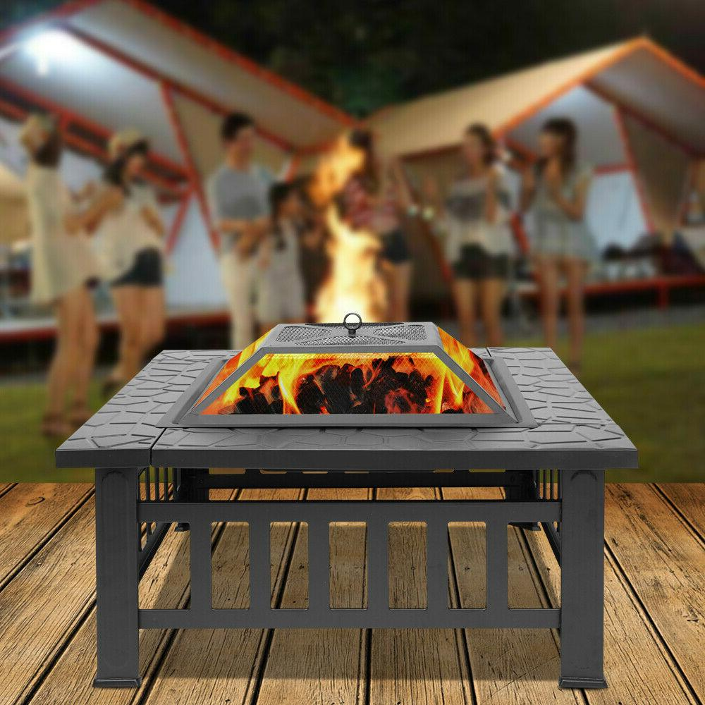 Portable Courtyard Metal Fire Bowl Wood Burning Fire Pit wit