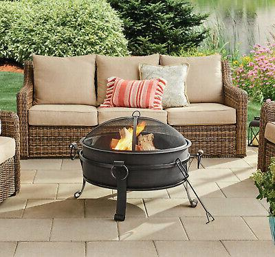Round Metal Fire Pit Fireplace Wood W/ Cover 30
