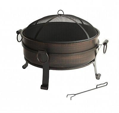 round metal outdoor fire pit fireplace backyard