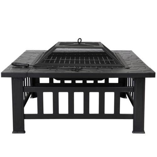 Square Pit Outdoor Patio Backyard BBQ Fireplace New