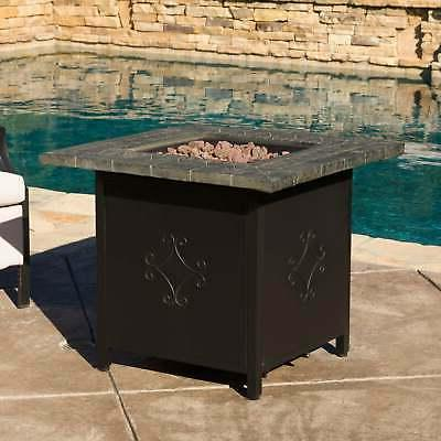 Christopher Knight Outdoor Square Propane Fire Pit with Lava Rocks