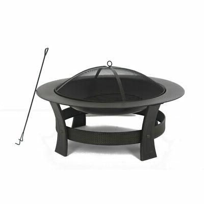 Wood-Burning Fire 35-in Round Bowl Spark Screen w/Cover
