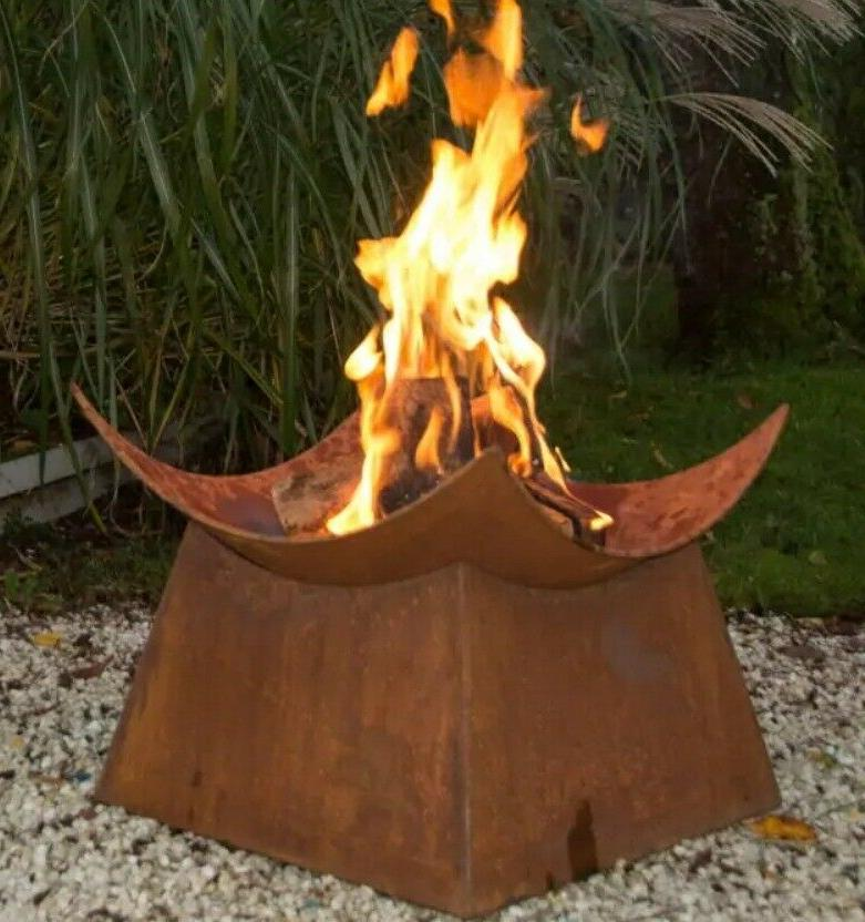 wood burning fire pit outdoor fireplace bowl