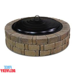 """Large 31"""" Black Fire Ring Lid Decorative Spark Screen Wood F"""