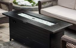 Large Fire Pit Table Black Gas LP Patio Deck Yard Heater Fir