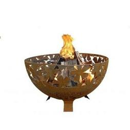 Large Laser Cut Leaf Fire Bowl Rust Metal Finish - Esschert