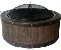 Large Rustic Barrel Fire Pit Wood Look Decorative Ring Scree