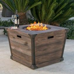 Madge Outdoor Brown 32 Inch Square Fire Pit - 40,000 BTU