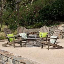 Marrion Outdoor 5 Piece Adirondack Chair Set with Fire Pit n