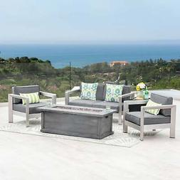 Montauk Outdoor 4-Seater Aluminum Chat Set with Fire Pit and