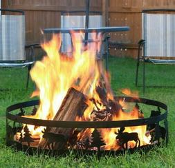 Moose Pine-tree Design, Outdoor Campfire Fire Pit Ring Backy