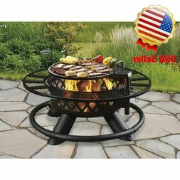 """New 47"""" Ranch Fire Pit With Grill Heavy Duty Table Ring Gard"""