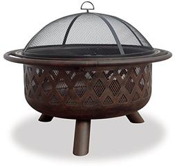 Uniflame Oil Rubbed Bronze Outdoor Firebowl with Lattice Des
