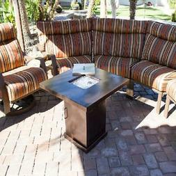 outdoor conventional propane fire pit in hammered