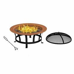 Outdoor Fire Pit 30 Inch Round Large Steel Bowl Copper Color
