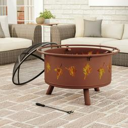 Outdoor Fire Pit 32 Inch Round Large Steel Bowl with Leaves