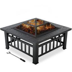 """Outdoor fire pit for wood 32"""" Metal firepit with Charcoal Ra"""