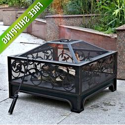 Outdoor Fire Pit Square Steel Stainless Screen 26 Patio Cove