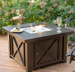 Outdoor Fire Pit Table Bronze Square Patio Backyard Heater D