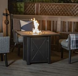 Outdoor Fire Pit Table Distressed Bronze Lava Rocks Square S
