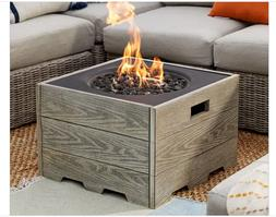 Outdoor Fire Pit Table Fireplace Square Propane Patio Driftw