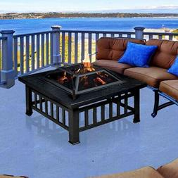 Outdoor Fire Pit Table Wood Burning Fireplace 32 in Square B