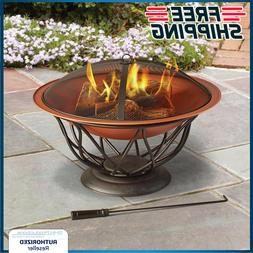 """Outdoor Fire Pit Wood Burning 30"""" Bowl Copper Decorative Pat"""