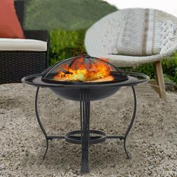 Outdoor Fire Pit Wood Burning Patio Backyard Fireplace Steel