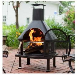 Outdoor Fireplace Patio Fire Pit Wood Burning Chiminea Heate