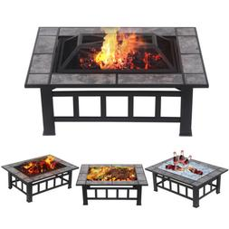 Outdoor Square Fire Pit Wood Burning Heater Deck Backyard Pa