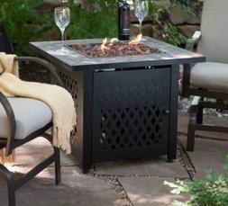 Outdoor Square Gas Fire Pit Table Distressed Bronze Lava Roc