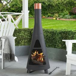 Outdoor Steel Chiminea Fire Pit Heater Wood Burning Patio Ba