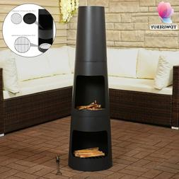 Outdoor Steel Chiminea Fire Pit Wood Burning Patio Heater Ba