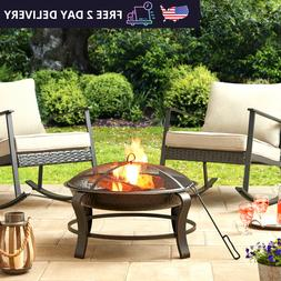 Outdoor Wood Burning Fire Pit Bowl Heater Stove Patio Backya