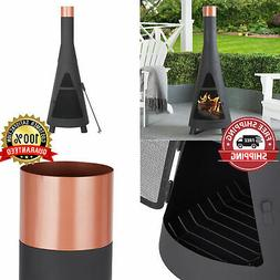 Outdoor Wood Burning Fireplace Steel Chiminea Fire Pit Heate