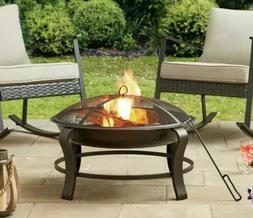Owen Park 28-Inch Round Wood Burning Fire Pit Mesh Guard Bac