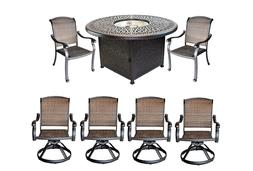Elisabeth patio 7pc fire pit dining set with round propane t